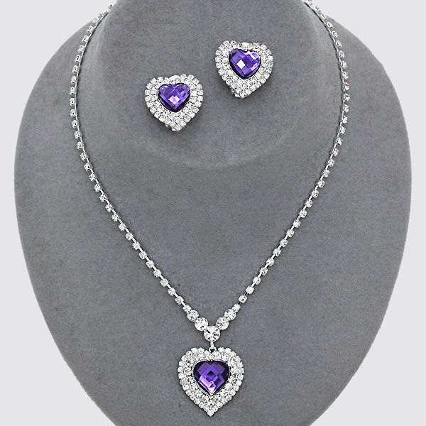 Purple diamante heart necklace £11.99 from WWW.GlitzyGlamour.co.uk