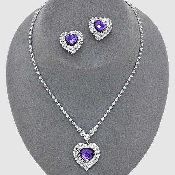 Purple diamante heart necklace £11.99 from WWW.GlitzyGlamour.co.uk