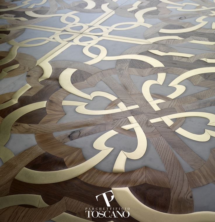 Calimala Exlusive inlai tile made with brass, teak, french oak, live and white marble  Designer Arch. Gianluca Geraci
