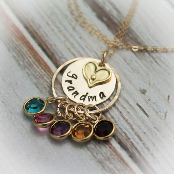 Grandmother S Pride Necklace With Birthstones In 14k Gold Filled Grandma Necklace Birthstone Grandmother Necklace Hand Stamped Jewelry