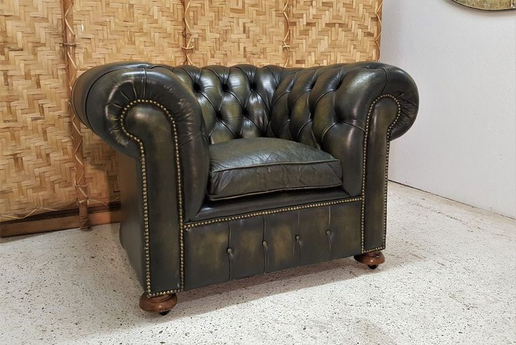 LARGE LEATHER CHESTERFIELD CLUB CHAIR. For sale is this fabulous large scroll arm traditional club chair upholstered in green leather. This chair is used and there are some general signs of wear and tear with some nicks and scuffs here and there.The heaviest of the wear is to the seat cushion where there is some cracking. | eBay!