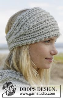 "Knitted DROPS head band and shoulder piece in ""Eskimo"". ~ DROPS Design"