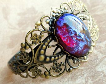 Cool Flame: mexican opal dragon's breath glass stone and aged brass filigree bold statement cuff bracelet