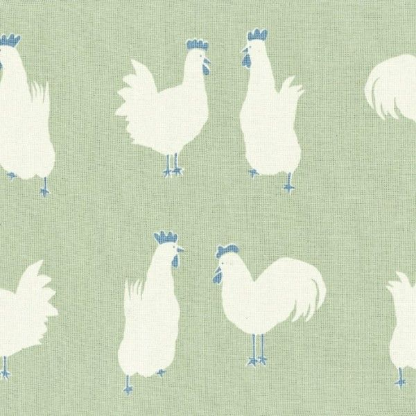Oilcloth Hen Run - Apple Green and Sky Blue | Vanessa Arbuthnott