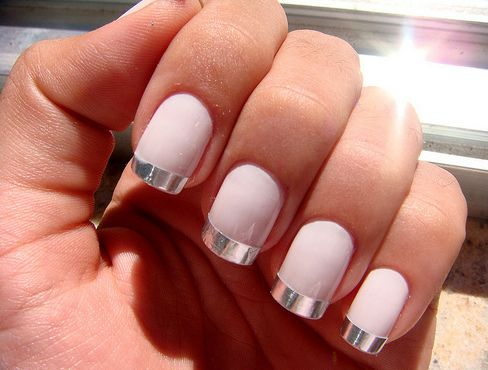 silver french tips: Nails Art, Nailart, French Manicures, Nails Design, Spring Nails, Pink Nails, Pale Pink, Nails Polish, French Tips