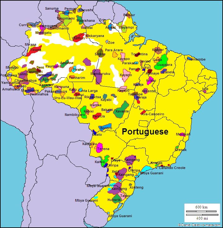 This map focuses specifically on Brazil when looking at the languages currently spoken there, This shows how being a colony of Portugal greatly affected Brazil even to this day.The locations of the other languages are what interest me, it would seem to the casual observer that yes the Portuguese were able to spread across most of Brazil but it seems like there may have been remote sections they were not able to access.
