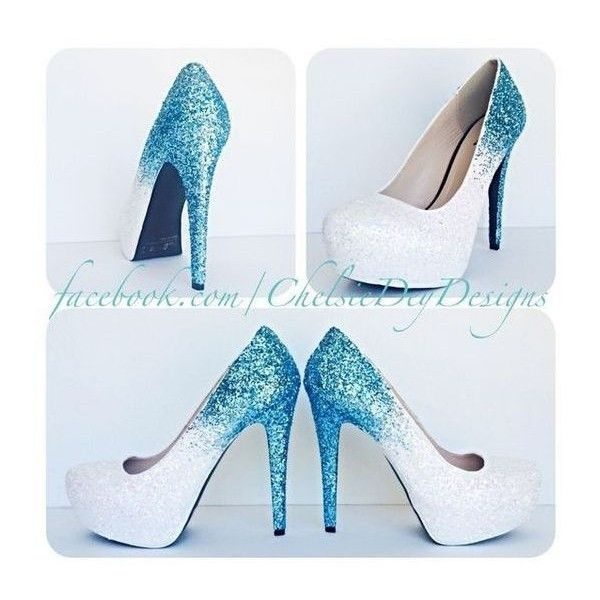 Glitter High Heels Blue and White Pumps -Aqua Turquoise Ombre Platform ❤ liked on Polyvore featuring shoes, pumps, glitter shoes, turquoise glitter pumps, turquoise shoes, platform shoes and blue and white pumps