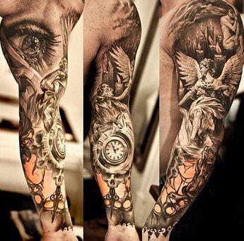 greek guardian sleeve tattoos | interessante tattoo vorschläge mit uhr und auge für ärmel tattoo