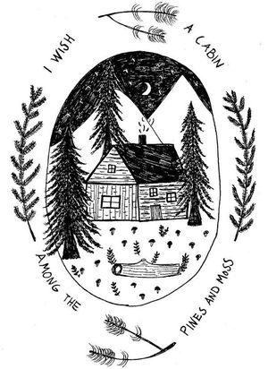 CABIN IN THE PINE WOODS art print available at Wild Wood Gatherer