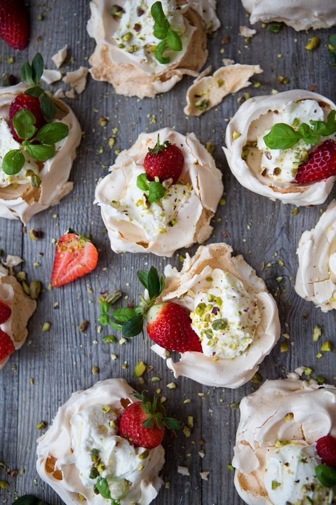 strawberry, basil & pistachio mini pavlovas