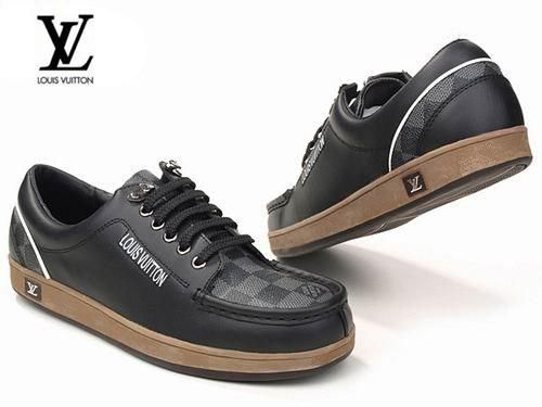Zapatos Louis Vuitton Hombre LG67Zapatos Bajas Louis Vuitton Hombre Con Cordones Negro Color Puro y Alta Calidad
