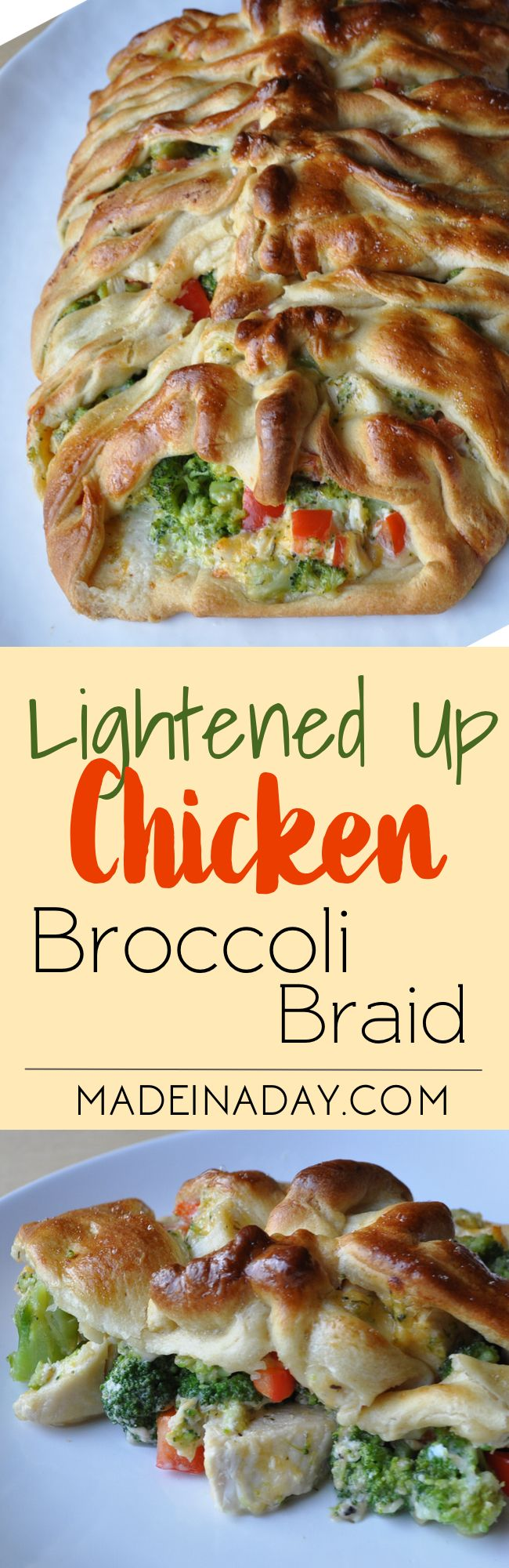 Lightened Up Version of the Ever Popular Chicken Broccoli Braid Recipe! Who doesn't love Pampered Chefs Braid recipes? Well my husband doesn't love mayo so we had to change the recipe up a bit! See what we did to make this fav a little more healthier!