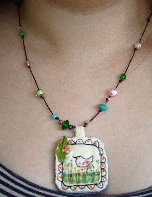 textile pendant by hens teeth, via Flickr