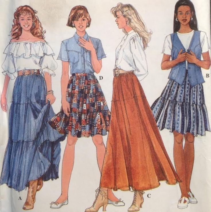 UC VTG Simplicity 7520 Sewing Pattern Gypsy Peasant Skirt Maxi Square Dance Plus