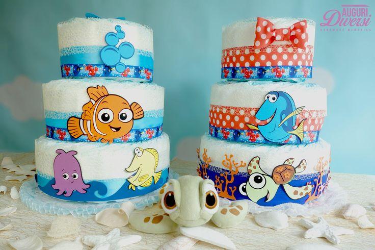 Torta di pannolini Nemo e Dory 3 piani (70 pannolini Pampers Baby Dry tg.3) www.facebook.com/AuguriDiversi