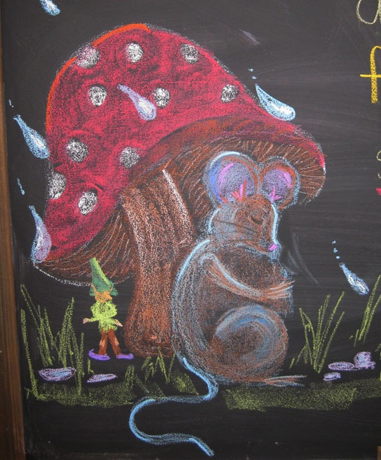 So cute. Break it down... I'm going to try just raindrops, I think. ~from Waldorf School Chalkboard drawing Field mouse and gnome.