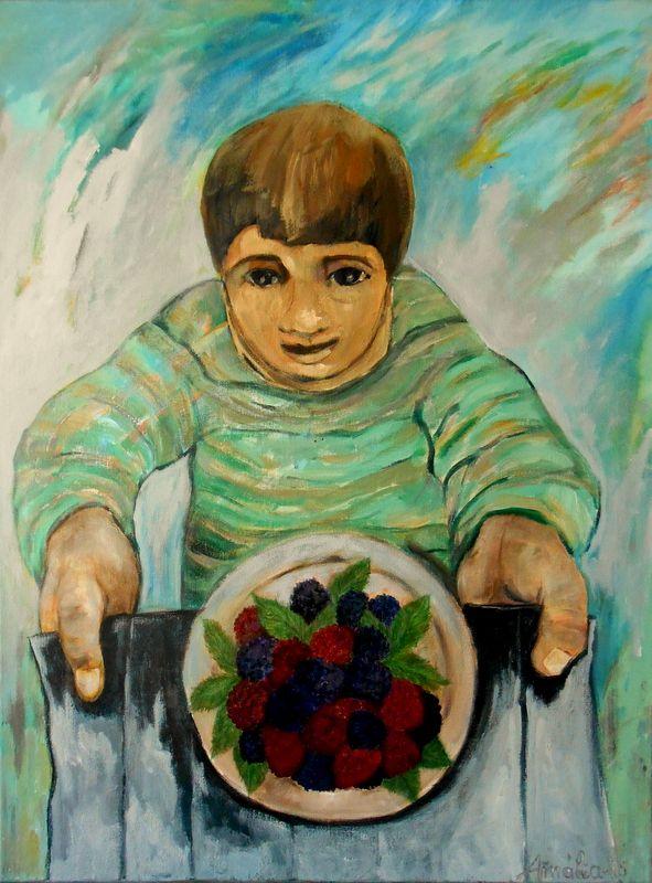 Acrílico sobre tela 80x60 by Amália Soares. As amoras, poema de Eugénio de Andrade