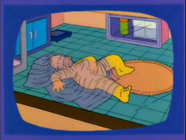"""Newsman: """"Simpson scandal update: Homer sleeps nude in an oxygen tent, which he believes gives him sexual powers.""""  Homer: """"Hey, that's a half-truth!"""""""