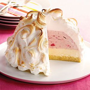 If you've never made one of these classic confections, you'll be tempted now. The bottom layer is genoise, a light, rich cake for which eggs and sugar are warmed over simmering water and then beaten with other ingredients. Ice cream goes on the cake, then the whole thing is cloaked in meringue and put in the oven. The meringue turns golden but insulates the ice cream, so it stays frozen. Prep and Cook Time: about 1 1/4 hours, plus at least 6 1/4 hours of chilling and freezing time.