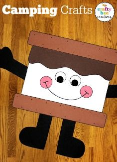 Kids will love creating this Smores Man Craft during the summer time.  It's great for a camping theme in the classroom and made completely of construction paper. Just cut the patterns out and put together with glue.  Talk about fun and easy!