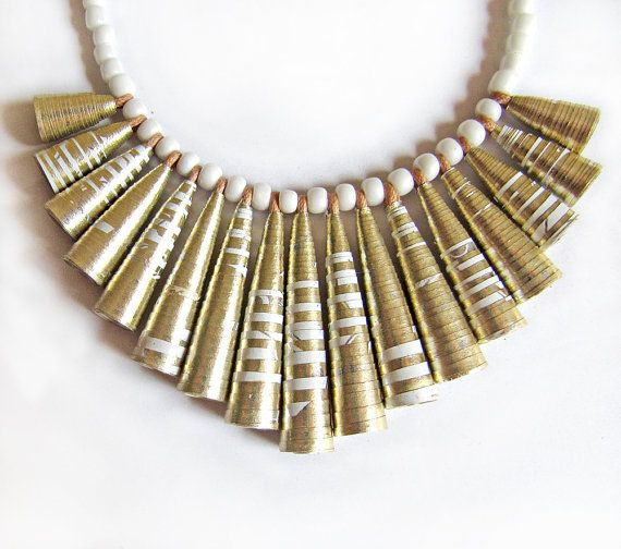 Dull gold necklace beaded jewelry first anniversary