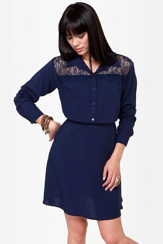 Lulu's Cute Navy Blue Long Sleeve Dress - $34.00