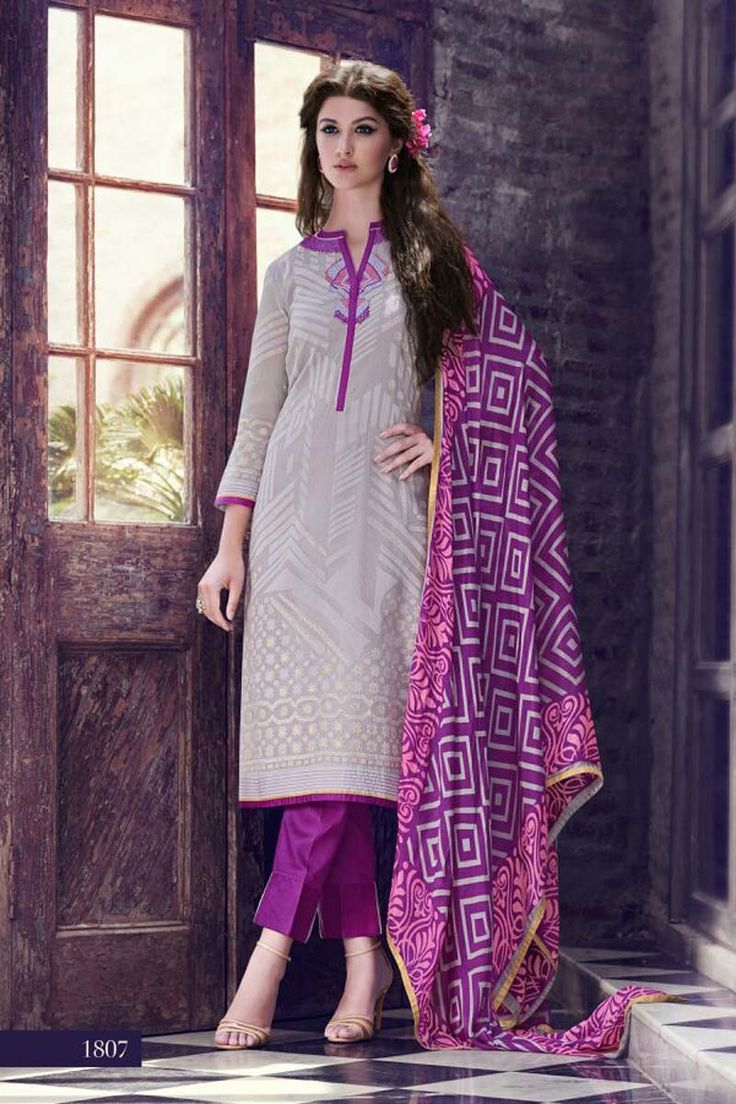 Grey Cotton Party Wear Salwar Kameez
