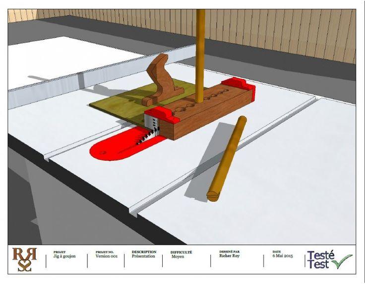 Le Gabarit à goujon est un outil qui sert à faire une rainure dans le goujon, barreau de chaise, etc. Ce plan est en anglais et en mesure impériale.