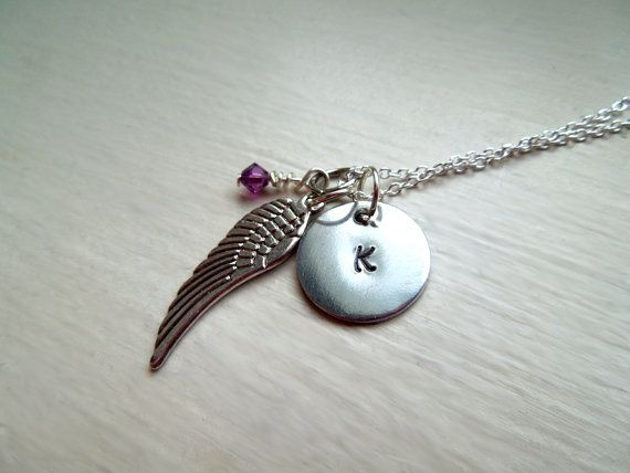 Sterling Silver Initial Birthstone Angel Wing by SmittenbyKristin, $26.95