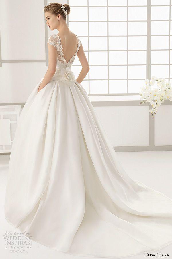 rosa clara 2016 bridal collection bateau neckline short sleeves wedding ball gown with pockets v cut low back full dallas -- Rosa Clara 2016 Wedding Dresses Preview