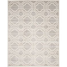 Amherst Light Grey / Ivory 8 Feet X 10 Feet Indoor/Outdoor Area Rug
