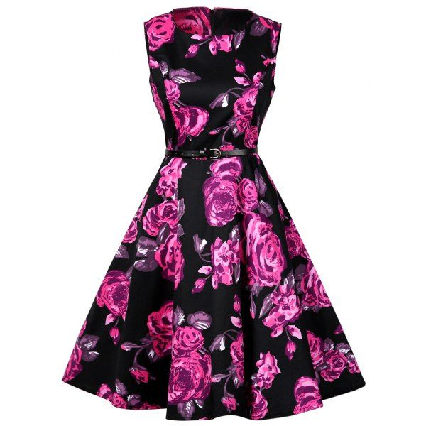 Floral Print Cotton Vintage Dress | TwinkleDeals.com