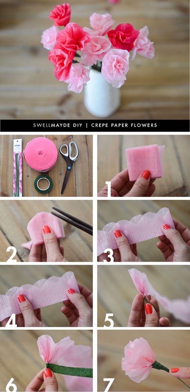 DIY, kreative Idee, Nelken aus Krepppapier basteln