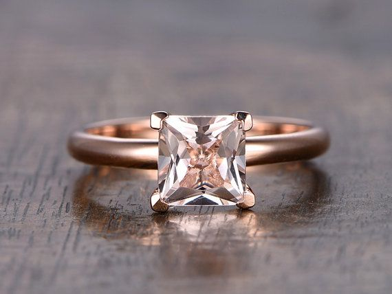 7mm Princess Cut Morganite RingMorganite by kilarjewelry on Etsy
