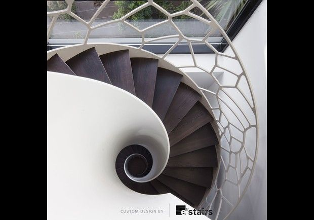 Love this view of a beautiful staircase!  The open banister is amazing.