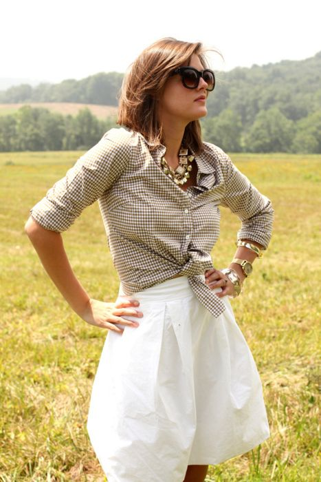 knotted gingham shirt: Preppy Style, Casual Style, Dreams Closet, Gingham Shirts, Statement Necklaces, Circles Skirts, White Skirts, Gingham Goddesses, Style Ideas