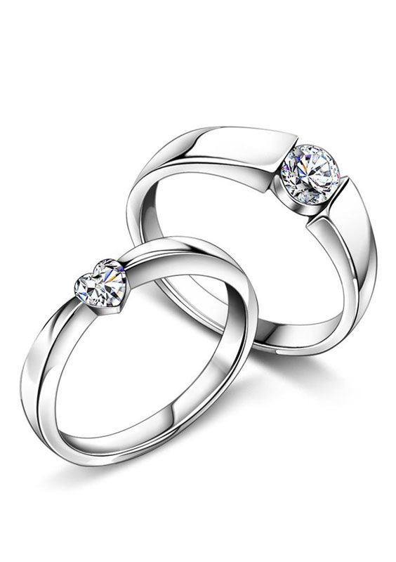 heart round diamond engagement rings for women and men simple couple promise rings - Girl Wedding Rings