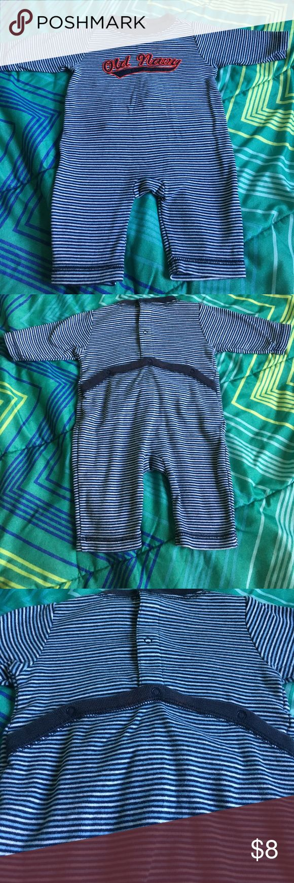 Old Navy One Piece Outfit. Super Cute!! 0-3 Months Old Navy One Piece Outfit. Super Cute!! 0-3 Months. Great Condition with the exception of a small stain on the backside of the neck trim (see photo 5)... looks like a bleach stain. Bundle to save $$$$. Smoke free home. Old Navy One Pieces