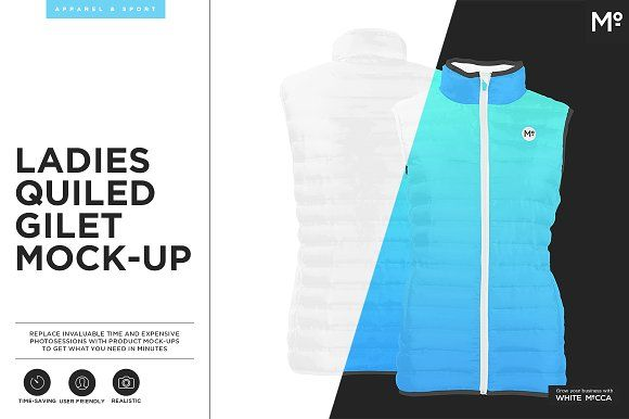 Ladies Quiled Gilet Mock-up by Mocca2Go/mesmeriseme on @creativemarket