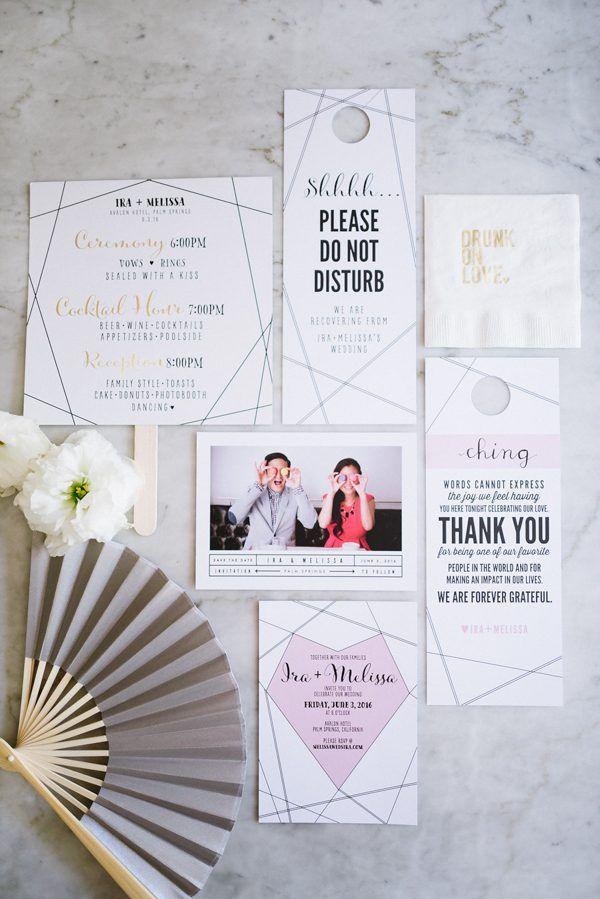 Modern geometric wedding invitations | Image by Hazelnut Photography