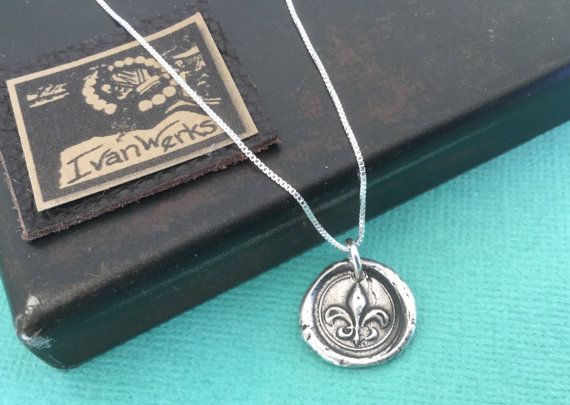 Fleur de Lis Wax Seal Necklace Sterling Silver Box by Ivanwerks