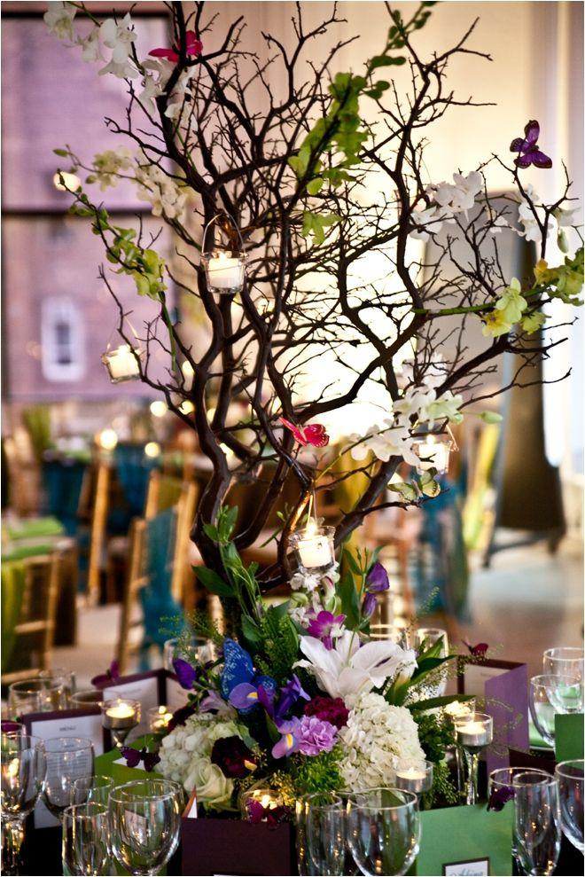 Colorful Manzanita branches for centerpieces!