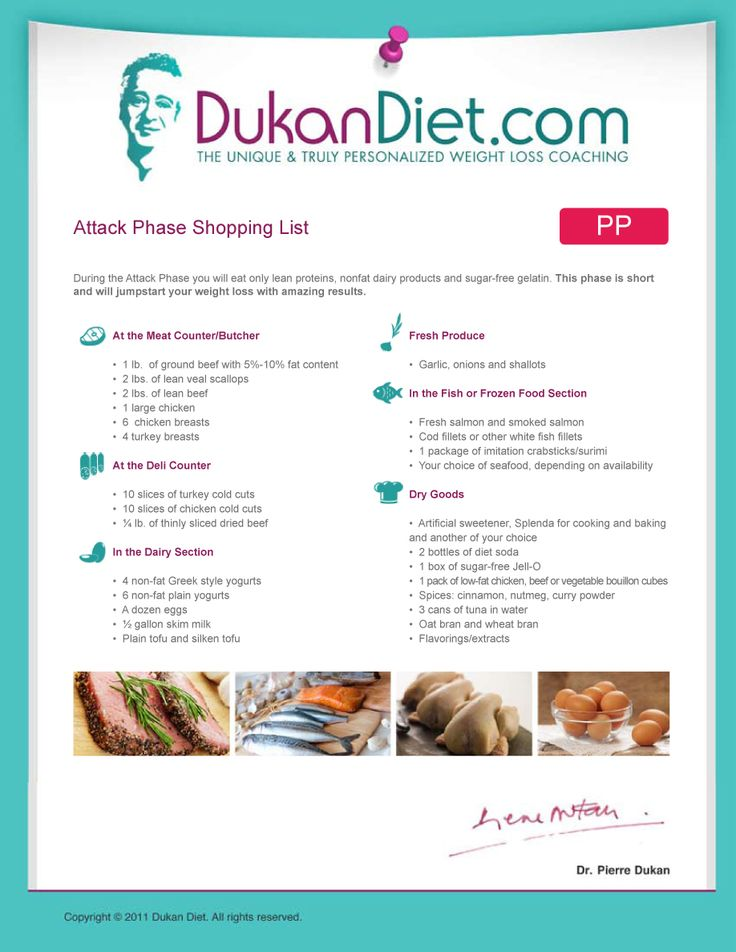 dukan attack phase typical weight loss