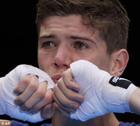 Celebrations: Luke Campbell can;t hold back the tears after claiming gold tonight