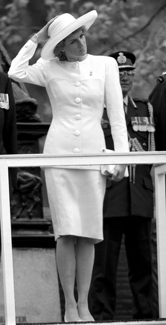 "Princess Diana……A WINDY DAY…..HOWEVER, HER SKIRT STAYED IN PLACE……..DIANA THE ""LADY"" PRINCESS…………..ccp"