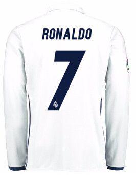 Real Madrid 2016/17 Home Men Long Sleeve Soccer Jersey RONALDO #7