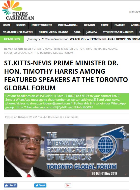 St. Kitts-Nevis Prime Minister Dr. Hon. Timothy Harris Among Featured Speakers at the Toronto Global Forum