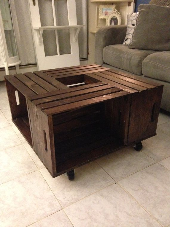 Rotating Crate Table by ReBornAndReMembered on Etsy