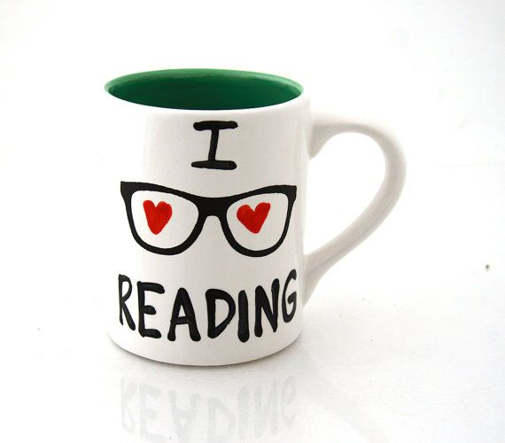 I love reading mug, great gift for book lover, graduate or teacher, geek or nerd on Etsy, $16.00