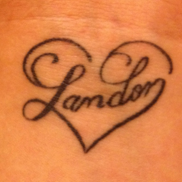 The tattoo of my sons name on my wrist! My favorite tattoo!